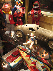 Tin toys in a French market