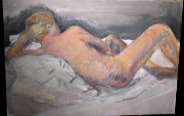 Male reclining nude in acrylics