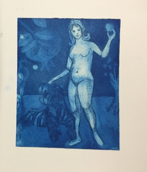 An aquatint of Persephone and a Tiger